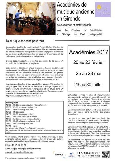 Académie de musique ancienne février 2017 en Sud-Gironde